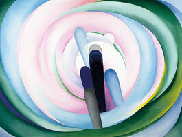 O'Keeffe: Grey Blue & Black, Pink Circle