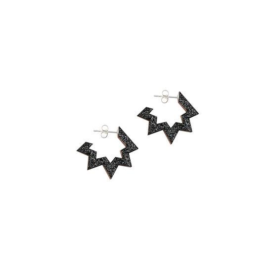 Black glitter spark hoop earrings