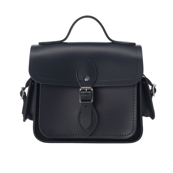 Navy leather Cambridge camera bag