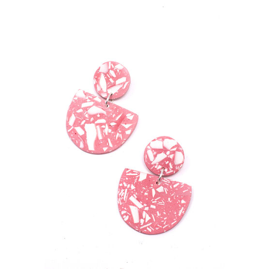 Pink and white Crescent earrings