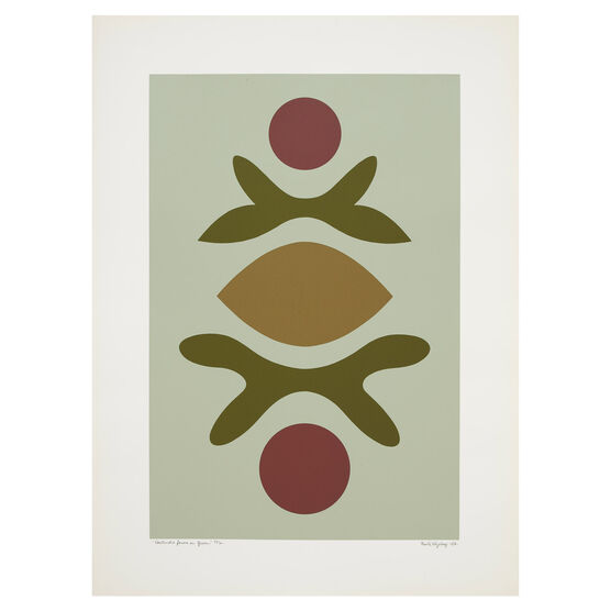 Paule Vézelay, Contrasted Forms on Green, 1976 limited edition