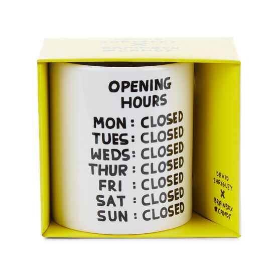 David Shrigley Opening Hours mug