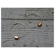 Silver and copper Ferrule hoop earrings