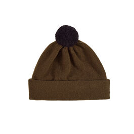 Plain military green contrast pompom hat