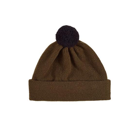 Plain military green contrast pompom hat