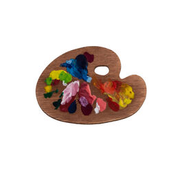 Paint palette wooden brooch