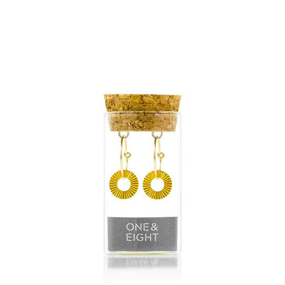 Gold disc hooped earrings packaging