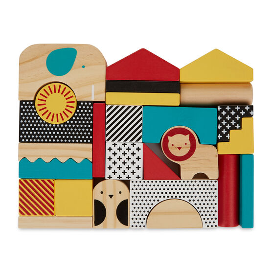 Animal town wooden building blocks