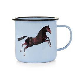 Horse enamel mug