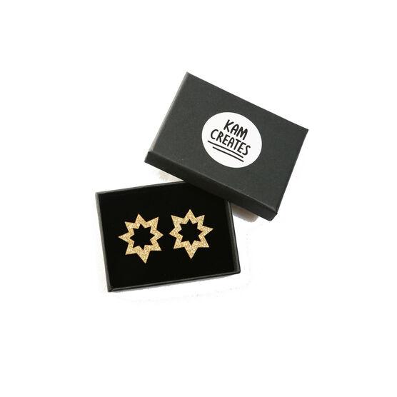 Gold glitter spark earrings