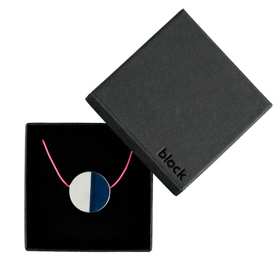 Concrete and navy disc necklace