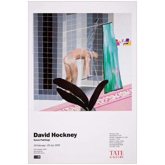David Hockney: Man in Shower in Beverly Hills vintage poster