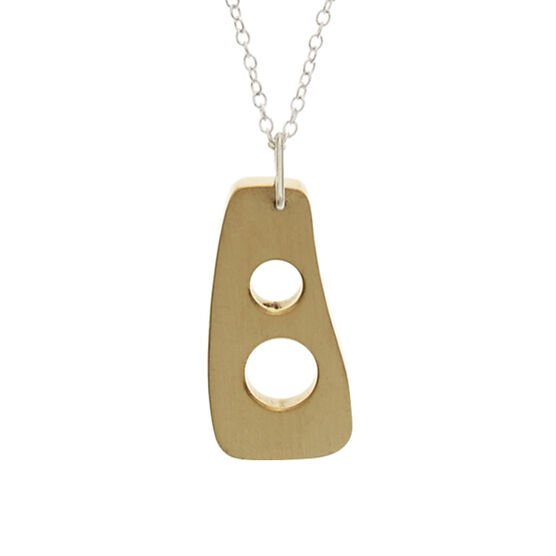 Recycled brass pendant short necklace
