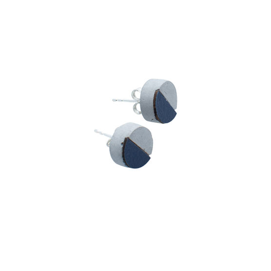 Concrete and navy disc earrings