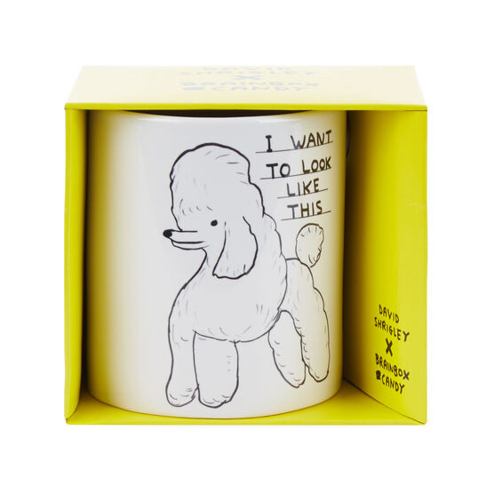 David Shrigley Poodle mug - boxed from the front