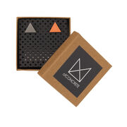 Grey and pink triangle stud earrings