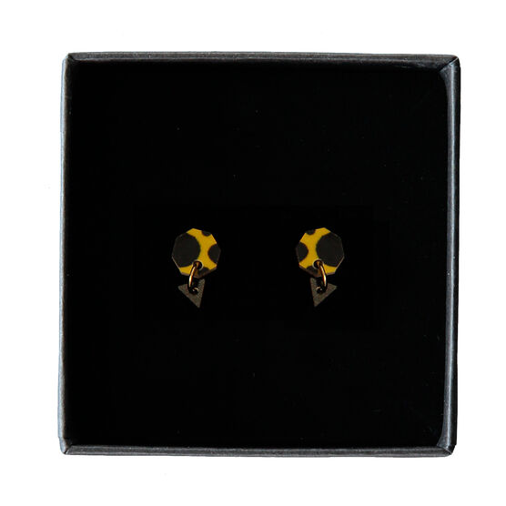 Poptagon yellow and black earrings