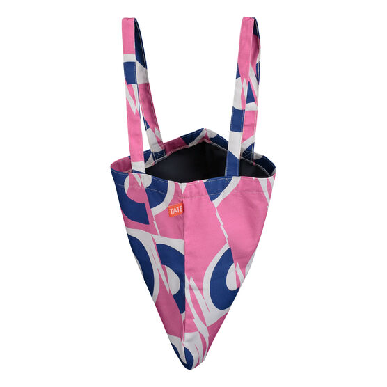 Laura Spring pink and blue circle tote bag