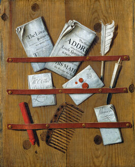 Edward Collier: A Trompe l'Oeil of Newspapers, Letters and Writing Implements on a Wooden Board