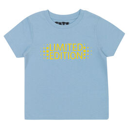 Pale blue kids' t-shirt with Limited Edition yellow chest graphic - front