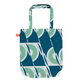 Laura Spring green and blue circle tote bag