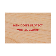 Jenny Holzer Men don't protect you woodend postcard