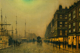 Grimshaw: Liverpool Quay by Moonlight
