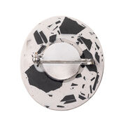 oval shaped black and white brooch - back