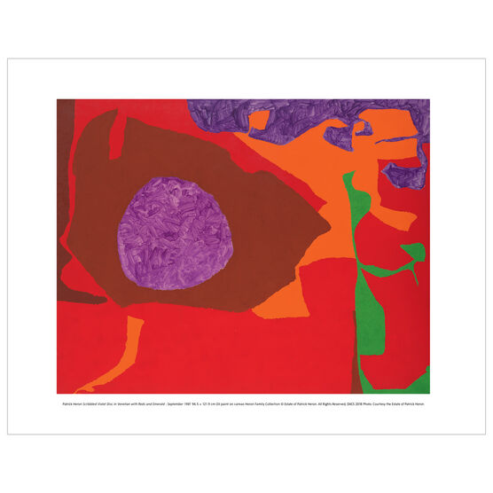 Patrick Heron: Scribbled Violet Disc in Venetian with Reds and Emerald : September 1981 mini print