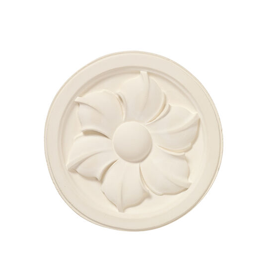 Decorative plaster cast flower roundel