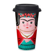 Frida Kahlo ceramic  travel mug