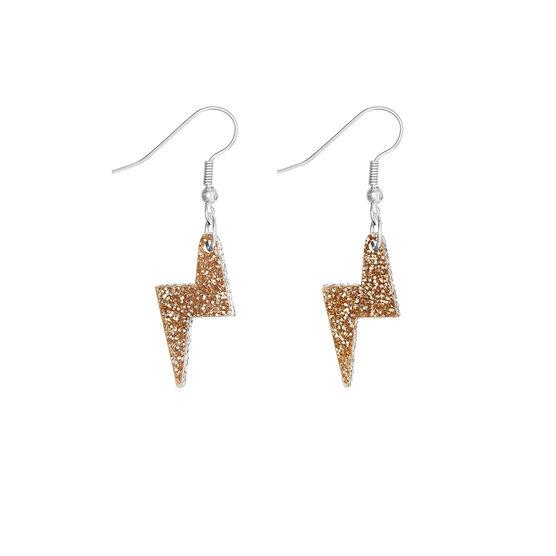 Tatty Devine gold glitter lightning bolt earrings