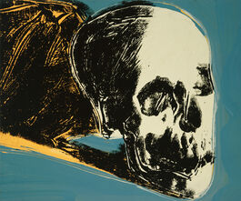 Andy Warhol: Skull (yellow on teal)