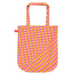 Laura Spring geometric pink and yellow tote bag