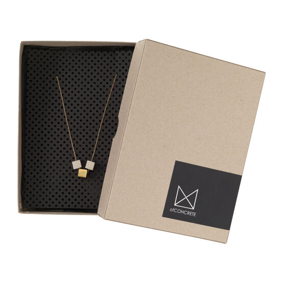 Gold and concrete pendant necklace