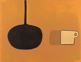Scott: Black Pan, Beige Cup on Brown