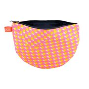 Laura Spring geometric pink and yellow pouch