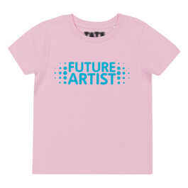 Pink kids' t-shirt with future artist chest graphic - front