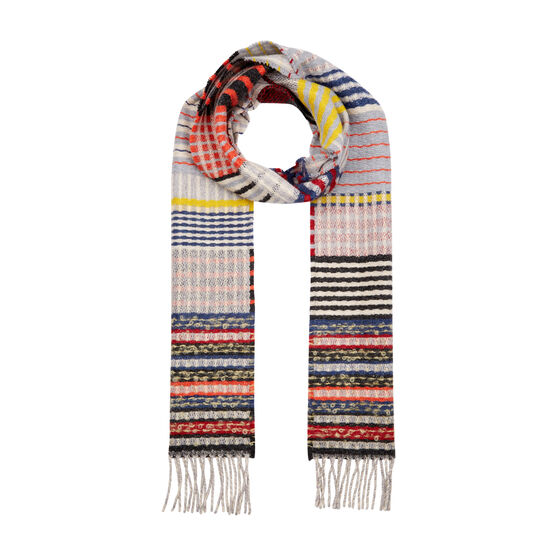 Patchwork weave wool scarf