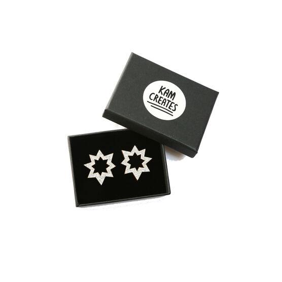 Silver glitter spark earrings