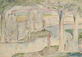William Blake: Matilda and Dante on the Banks of the Lethe with Beatrice on the Triumphal Chariot