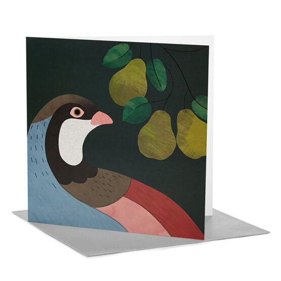 Rachel Hill: Partridge in a Pear Tree Christmas card (pack of 6)