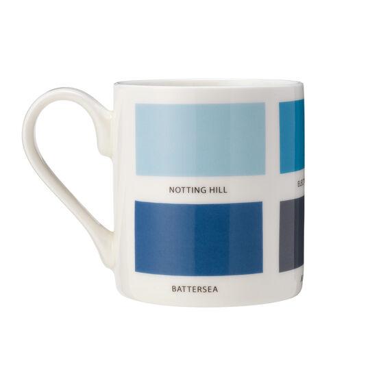 The Colours of London blue mug back