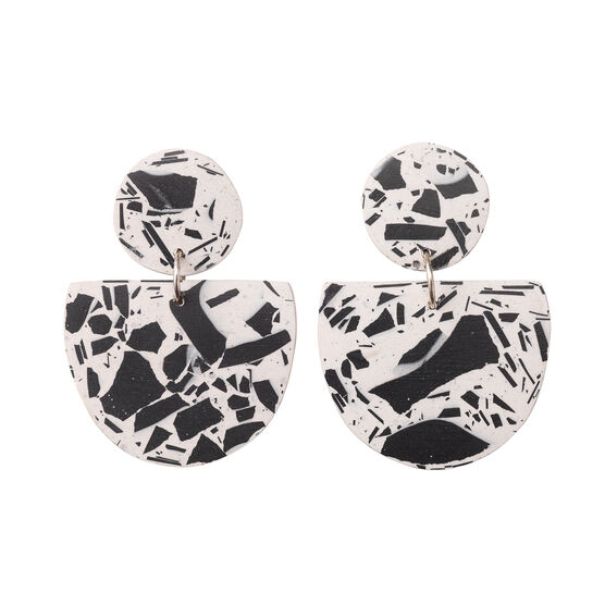 Black and white Crescent earrings