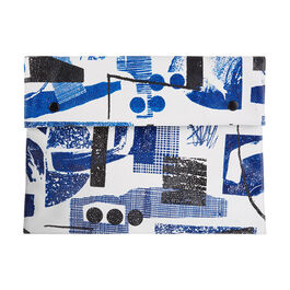 Laura Slater large cobalt blue leather clutch bag