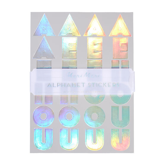 Holographic alphabet stickers