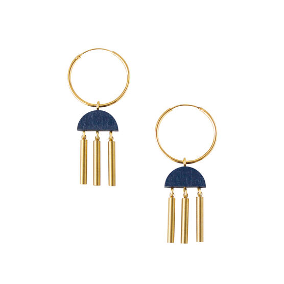 Dusk midnight blue hoop earrings