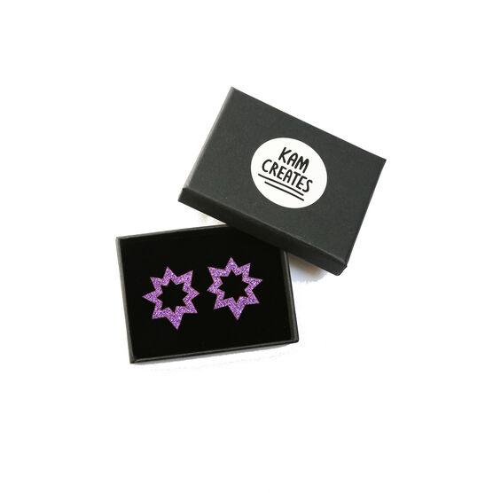 Purple glitter spark earrings