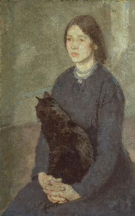 John: Young Woman Holding a Black Cat