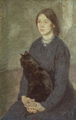 John: Young Woman Holding a Black Cat